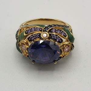 Jewelry - Flower Dragonfly Sapphire Blue Gold Flashed Ring